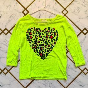 Kids Neon Leopard Heart Top